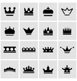 black crown icon set vector image