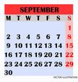calendar design month september 2019 vector image vector image