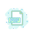 cartoon colored pdf icon in comic style pdf vector image vector image