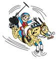 cartoon equestrian polo vector image vector image