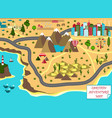 cartoon map with sea mountains desert and city vector image