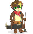 Cat cowboy Sheriff Wild West vector image vector image