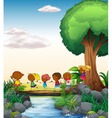 Children and river vector image vector image