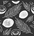 coconut with palm leaves seamless pattern hand vector image vector image