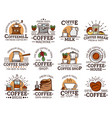 coffee cups and mugs espresso machine grinder vector image vector image