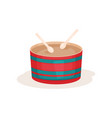 colorful drum and two wooden sticks percussion vector image