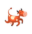 cute happy brown spotted cow jumping funny farm vector image