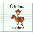 Flashcard letter C is for cowboy vector image vector image