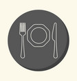 fork knife and plate round linear icon vector image vector image