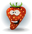funny strawberry character vector image vector image