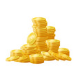 golden shiny coins pile stack vector image vector image