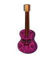 guitar with death day mask painted vector image