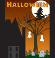 halloween witch haunted house scene vector image