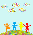 Hand drawn children silhouettes playing outdoor vector image