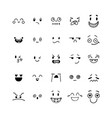 hand drawn funny smiley faces kawaii style vector image vector image