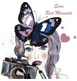 hand drawn pretty blue eyed girl holding camera vector image