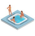 isometric jacuzzi with swirling water isolated on vector image vector image