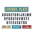 license car plates font embossed latin alphabet vector image vector image