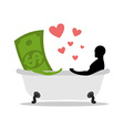 love of money Dollar and man in bath Man and cash vector image