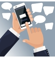 Man holding smartphone in his hand vector image vector image