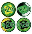 Marijuana symbolic 420 text design green stickers vector image vector image