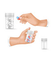 medicines in small plastic bottles and human hands vector image vector image