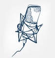 microphone sketch line design vector image
