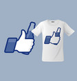 modern t-shirt design with thumbs up icon vector image vector image