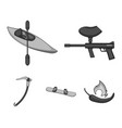 paintball marker kayak with a paddle snowboard vector image vector image