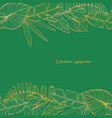 postcard template with tropical leaves linear vector image vector image