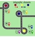 Road infographics Highway with marked stops vector image vector image