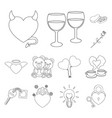 romantic relationship outline icons in set vector image