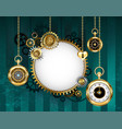 round mechanical banner on green background vector image vector image