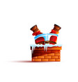 santa claus stuck upside down in the chimney vector image vector image