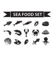 Sea food icons set silhouette shadow vector image