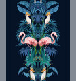 seamless border with jungle trees flamingo vector image vector image