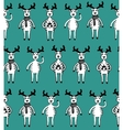 Seamless pattern of funny sketch deers vector image vector image