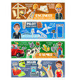 seller pilot construction engineer and farmer vector image vector image