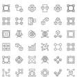 set blockchain outline icons - block vector image vector image