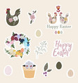 set easter gift stickers scrapbooking elements vector image vector image