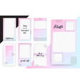 set of 7 bright editable template for stories and vector image