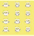 set of white polar owls vector image vector image