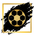 soccer ball sign golden icon at black vector image vector image