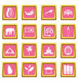 sri lanka travel icons pink vector image vector image