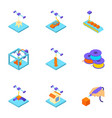 stamp icons set isometric style vector image vector image