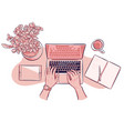 top view hands working on laptop with tablet and vector image vector image