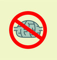traffic sign with brain concept of to deny the vector image vector image