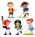 Various sports kids on a white background vector image