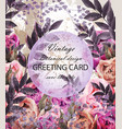vintage wedding card with floral decor vector image vector image