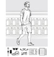 walking hipster man men s accessories set vector image vector image